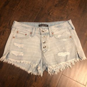 Abercrombie & Fitch | light wash distressed shorts